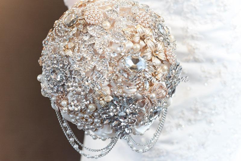 """Hochzeit - Great Gatsby Wedding Brooch Bouquet. Deposit """"Glamour Gatsby"""" Crystal Gold Wedding Bouquets, Bridal Broach Bouquet, Ruby Blooms Weddings"""