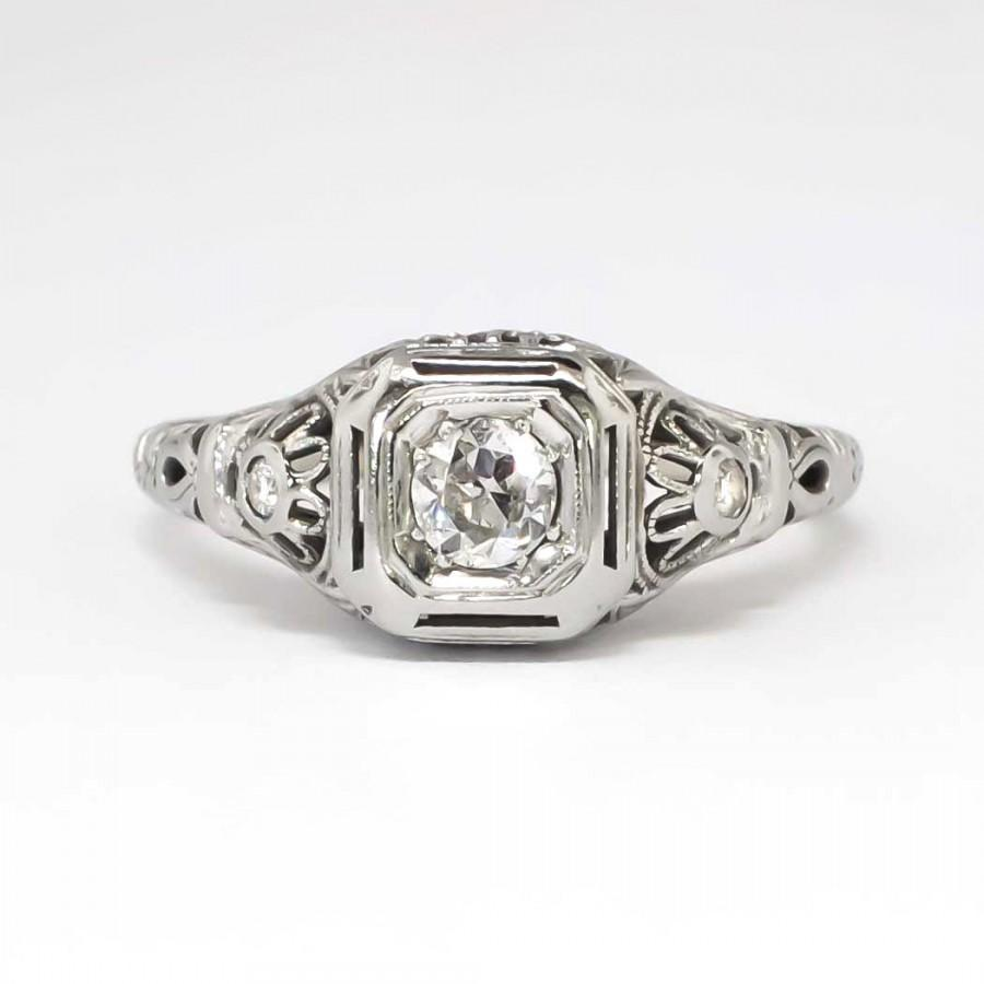 Old european cut elegant diamond solitaire ring in platinum and 18k - Sale Fantastic Art Deco 22ctw Filigree Old European Cut Diamond Engagement Ring 18k