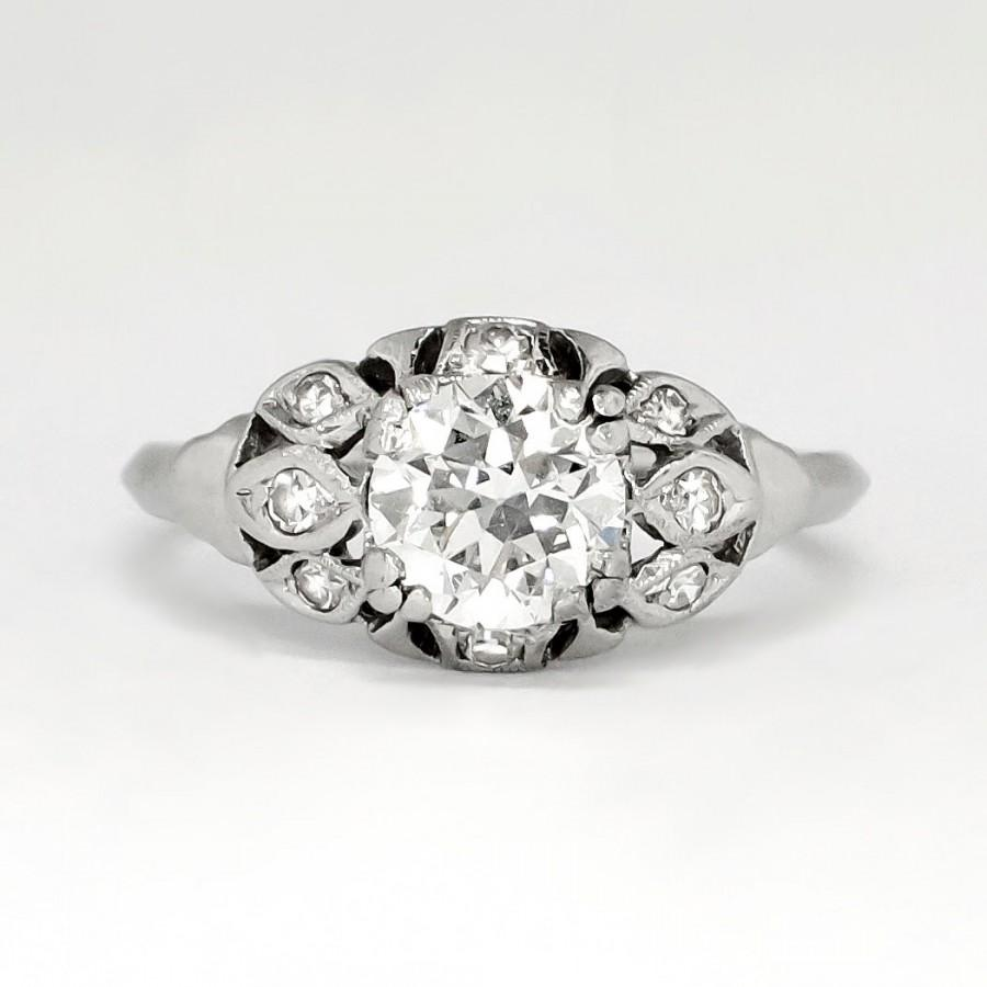Mariage - SALE Beautiful 1.12ct t.w. 1930's Old European Cut Diamond Engagement Ring Platinum
