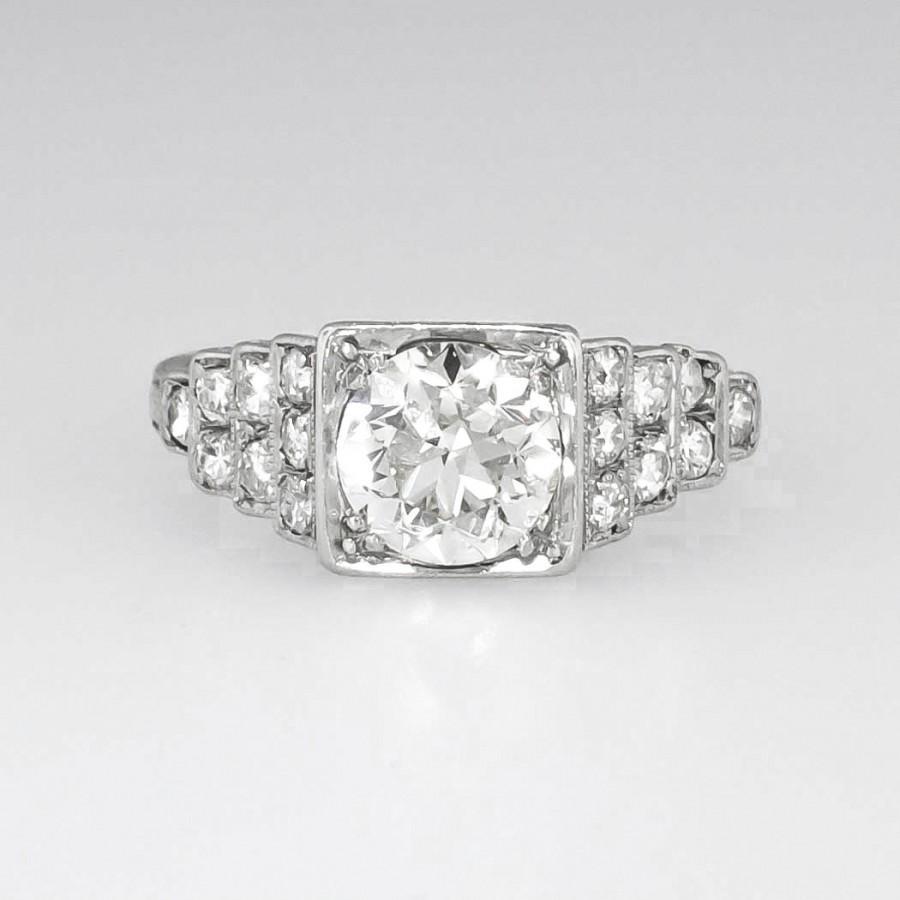 Mariage - SALE Elegant Art Deco 1.50ctw Old European Cut Diamond Engagement Ring Platinum