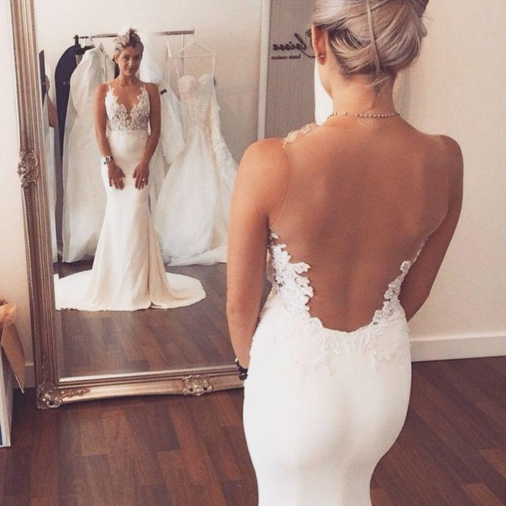 Hochzeit - 2015 Sexy Mermaid Wedding Dress Sheer Back Scoop Neck Lace Applique Bridal Gowns