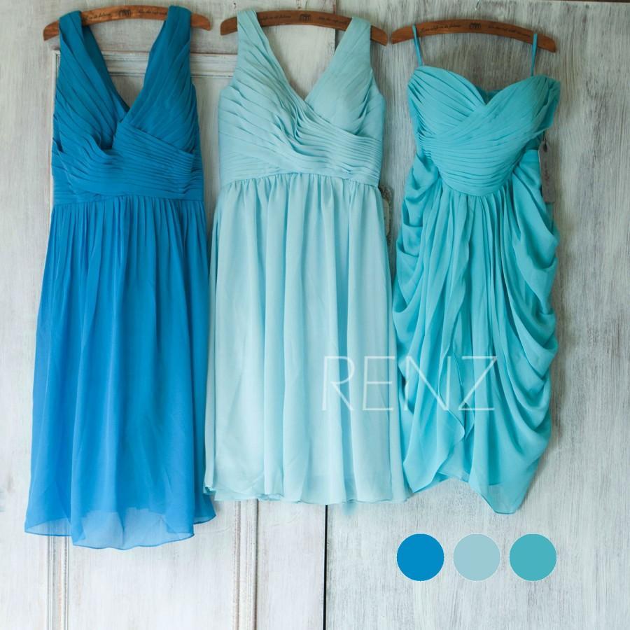 2015 Mix And Match Bridesmaid Dress, Blue Wedding Dress, Short Party ...