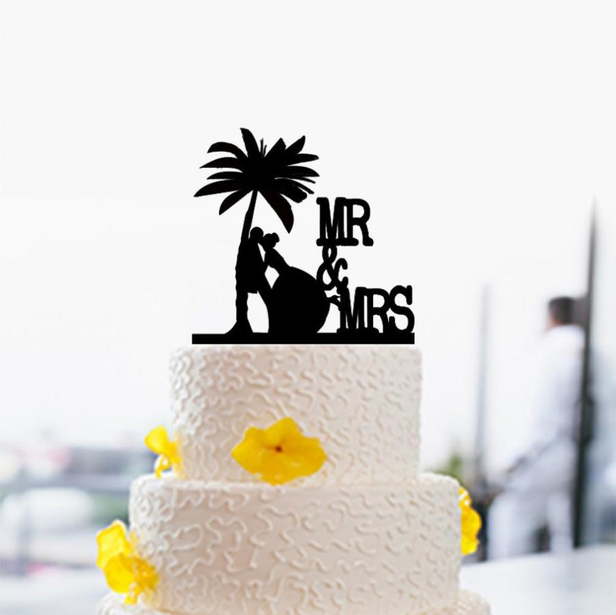 Mr And Mrs Wedding Cake Topper Palm Tree Silhouette Beach Theme For Personalized