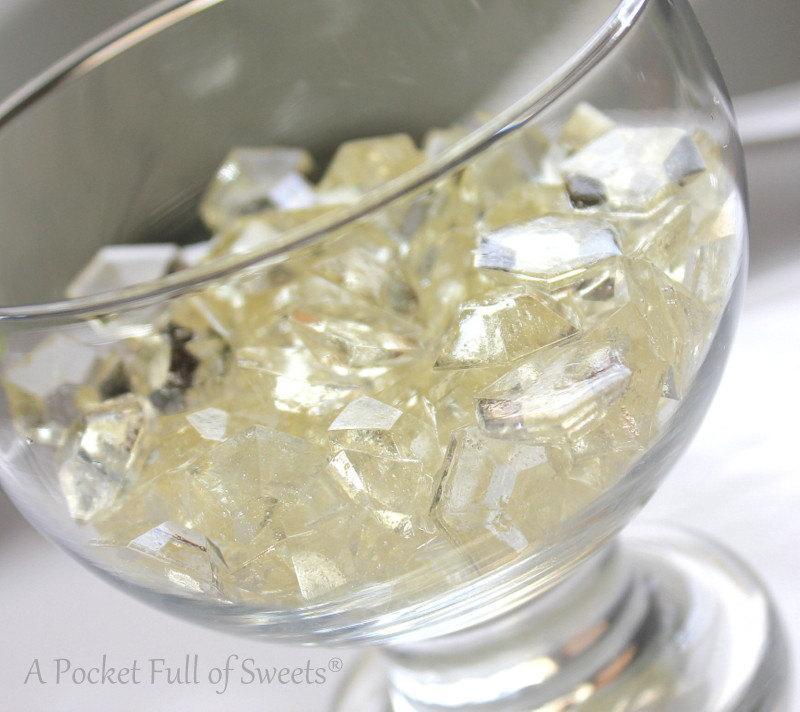 Boda - 125 CLEAR Edible Sugar Candy Gems Diamonds Jewels Barley Sugar Bite Sized Hard Candy Cake Decor Cupcake Jewels Diamonds