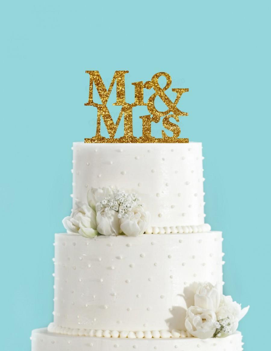 Mr And Mrs Cake Topper Gold Glitter