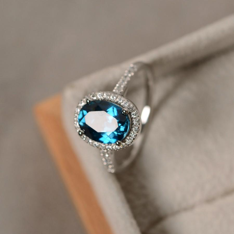 London Blue Topaz Ring Oval Gemstone Sterling Silver