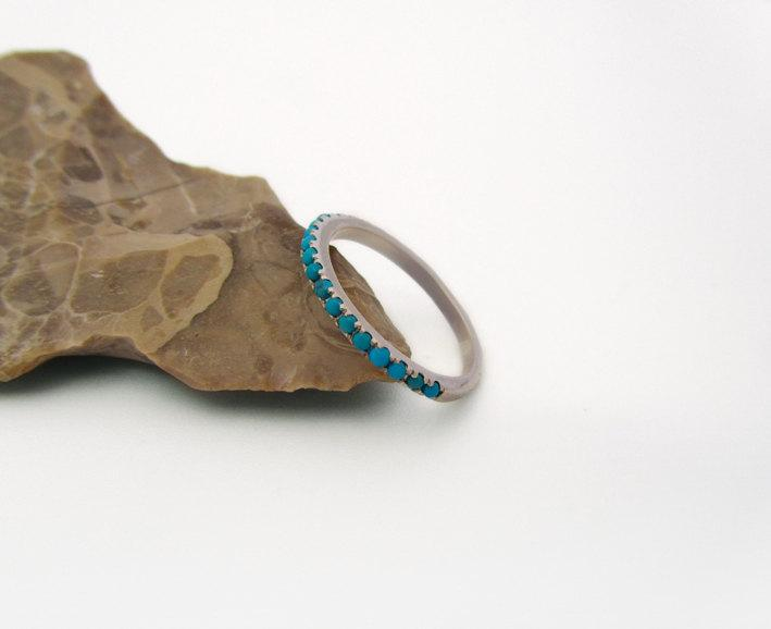 Mariage - Turquoise Ring, Half Eternity Ring, Stackable 14K White gold Wedding Band, December Birthstone Ring, Stack Ring for Her.