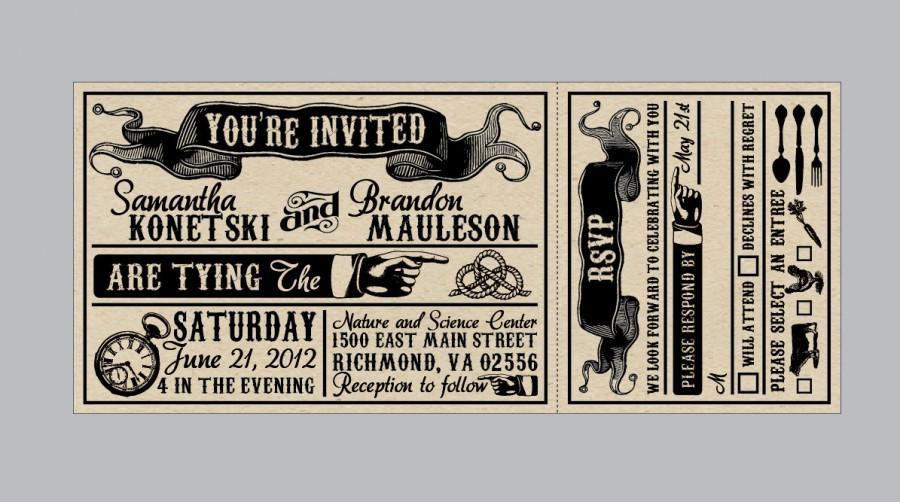 Rustic Wedding Invitations   Vintage Antique Edwardian Victorian Wedding  Rustic Banner Ticket Invitations