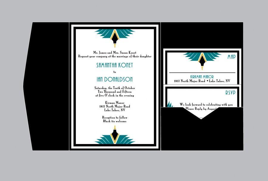 زفاف - Art Deco Wedding Invitations - Vintage Antique Art Nouveau Art Deco Wedding Border Pocket Fold Invitations