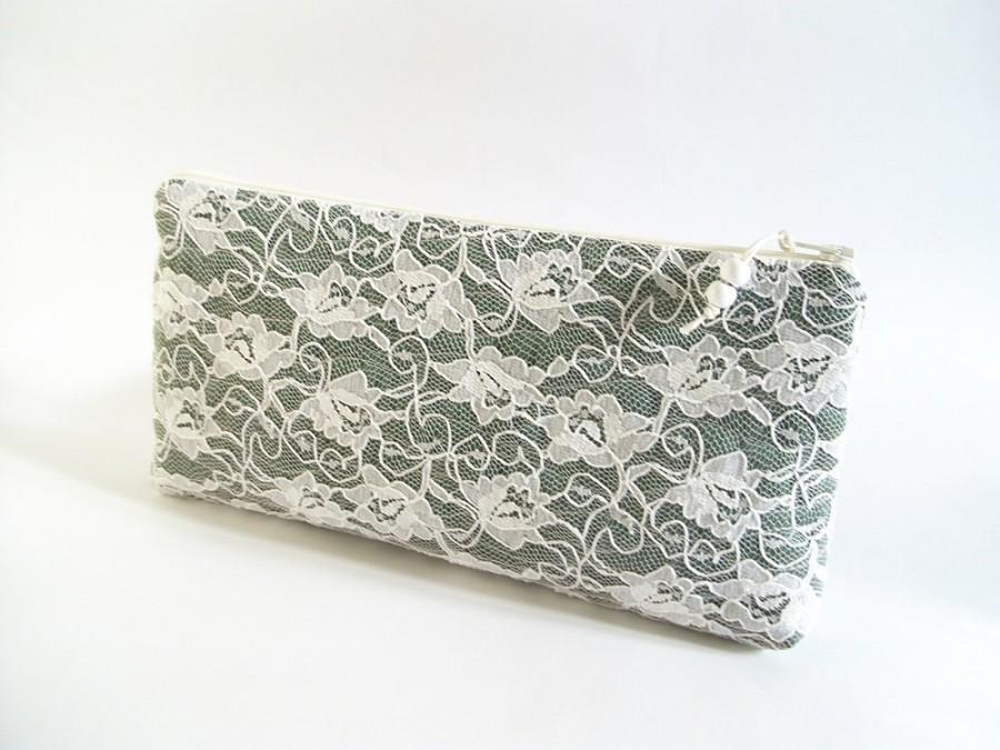 زفاف - Dark Forest Green Clutch, Farmhouse Wedding Bag, Lace Purse for Bride, Bridesmaid Gift Bag