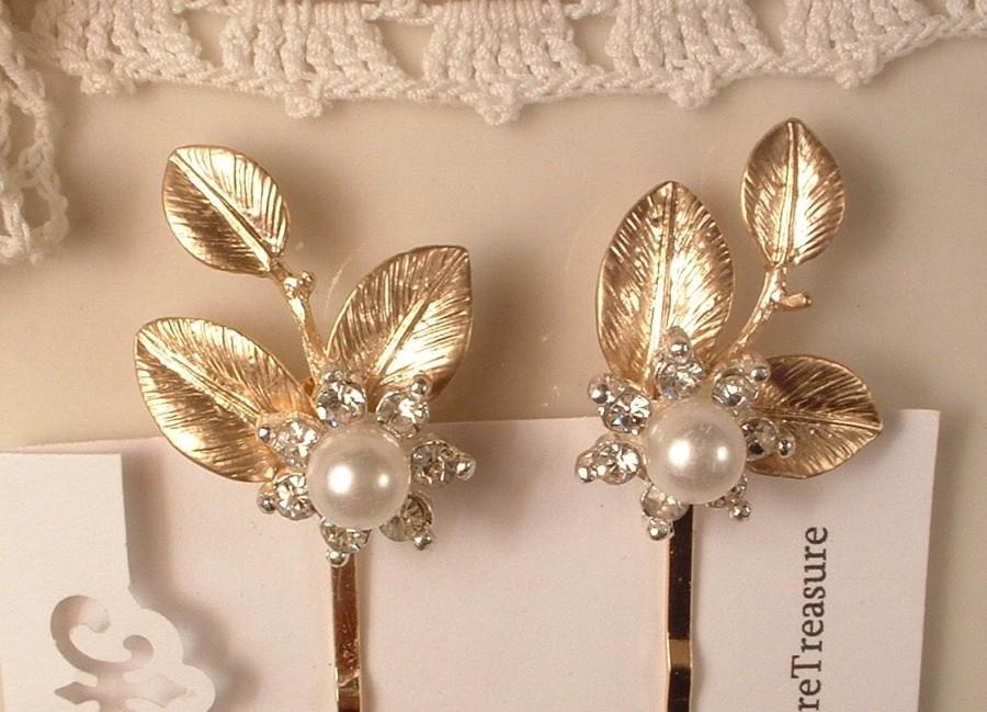 Pearl Rhinestone Gold Leaf Bridal Hair Pins Pair Vintage Wedding Bobby Set 2 Bridesmaid Jewelry Gift Comb Accessories