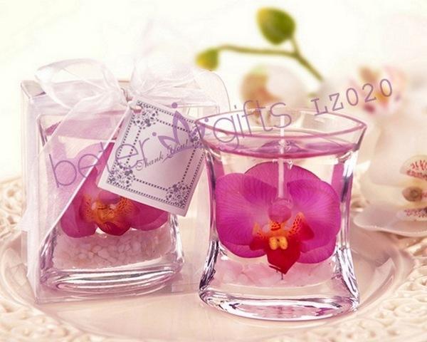 Wedding - 婚禮回禮 蘭花果凍蠟燭,歐美婚慶用品,創意婚品LZ020新娘化妝