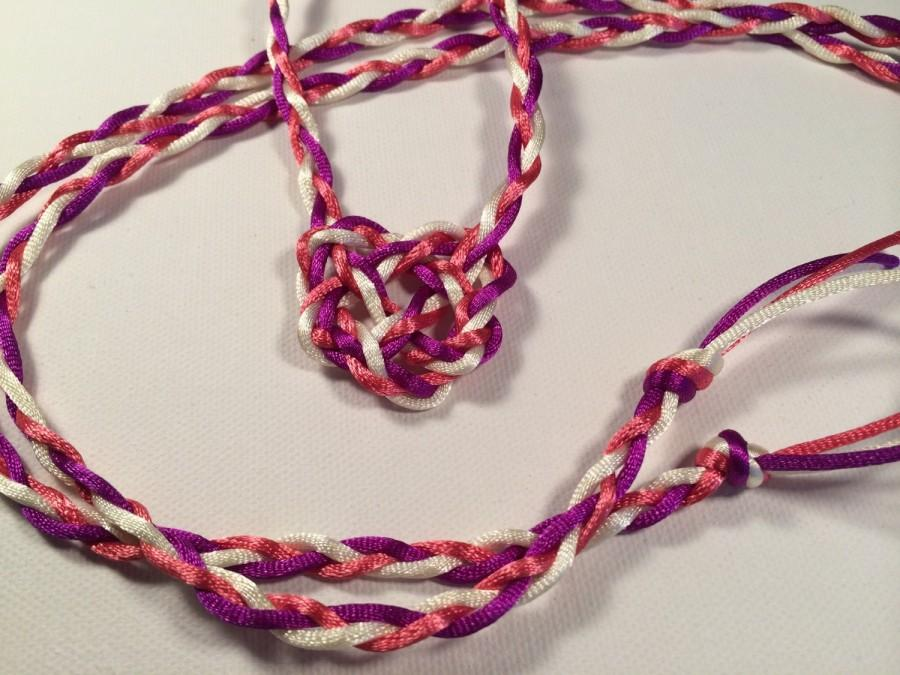 Mariage - Handfasting Cord with Celtic Heart Knot - Your Choice of Colors - Tie the Knot - Tartan Wedding - 100% Handmade in USA