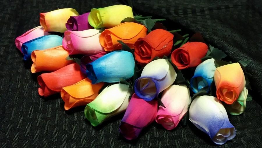 Hochzeit - Small Bud Wooden Roses - One dozen