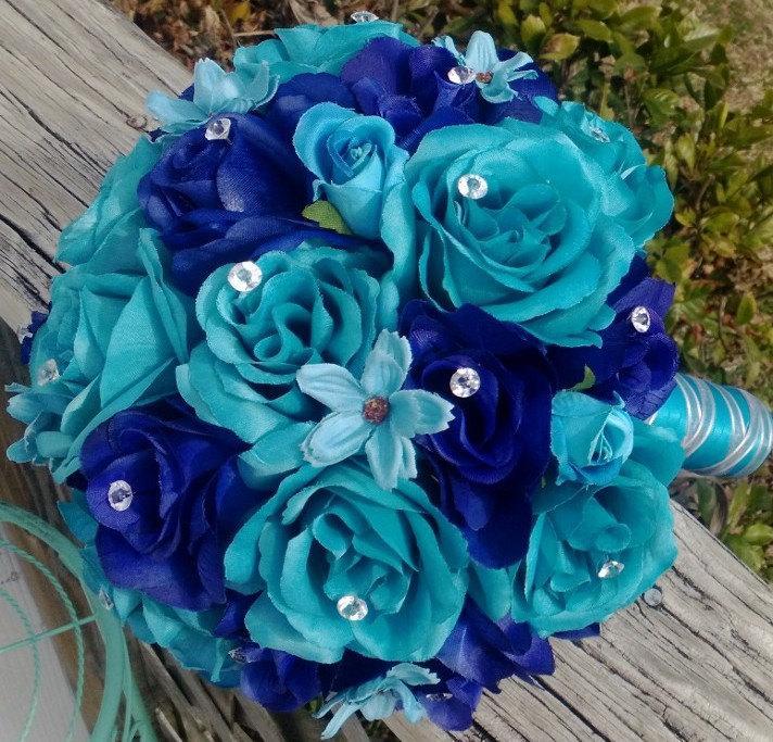 Malibu Blue & Royal Blue Rose Wedding Bouquet, Malibu Blue Bouquet ...