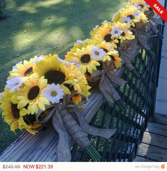 Sale - 5 Sunflower Wedding Bouquet Rustic Set, Sunflower Bouquet ...