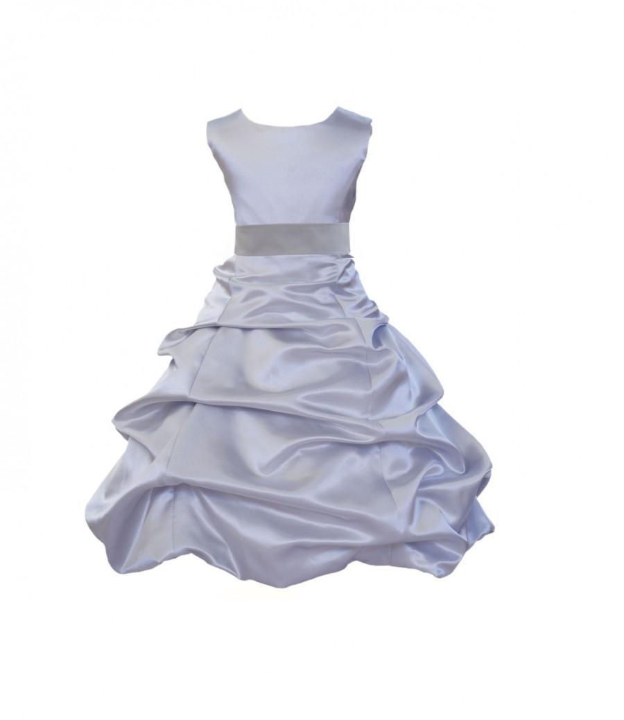 Mariage - Silver Flower Girl Dress tie sash pageant wedding bridal recital children bridesmaid toddler childs 37 sash sizes 2 4 6 8 10 12