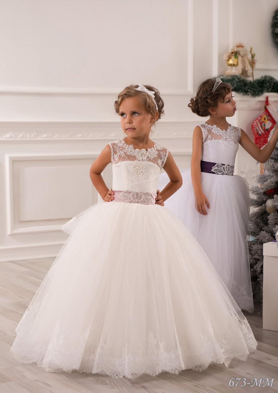 5f23644d9 Ivory Flower Girl Dress - Bridesmaid Birthday Wedding Party Holiday Ivory  Lace Tulle Flower Girl Dress