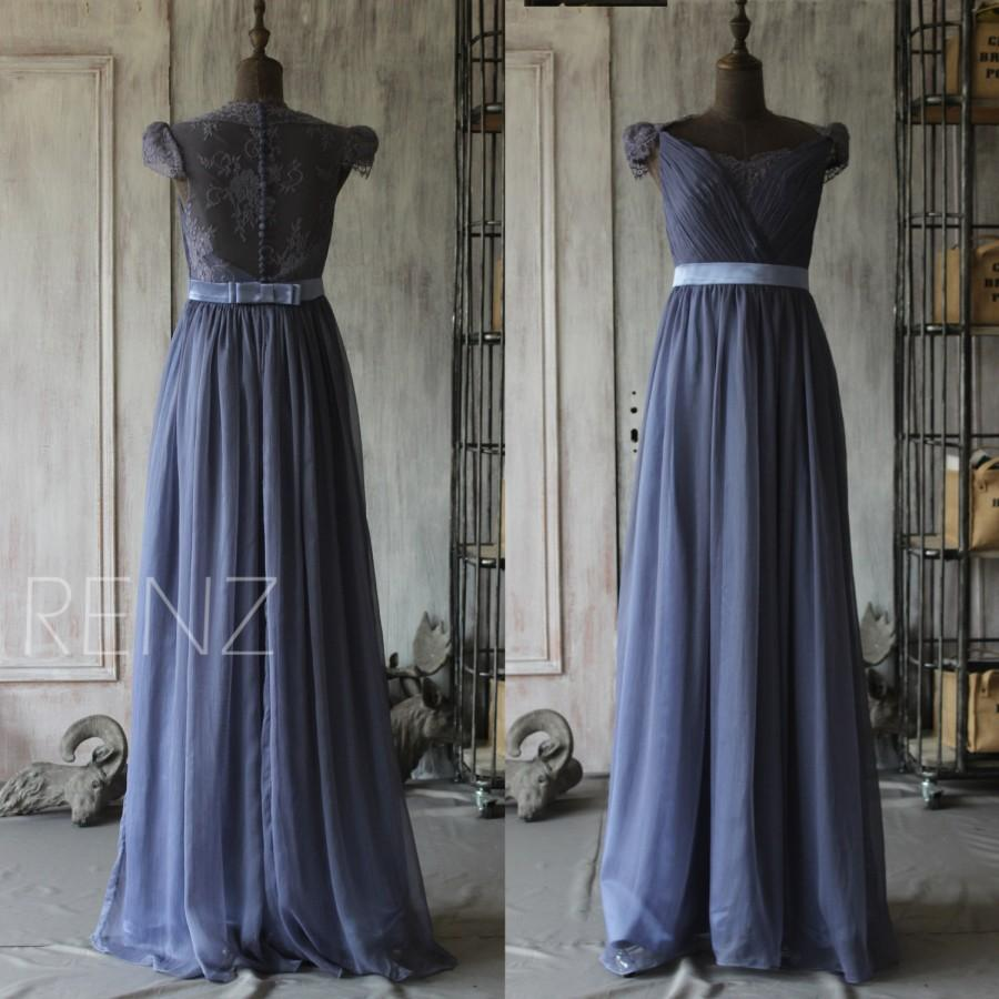 2015 Steel Blue Bridesmaid Dress Cap Sleeve Wedding Dress Lace Backless Evening Dress Maxi