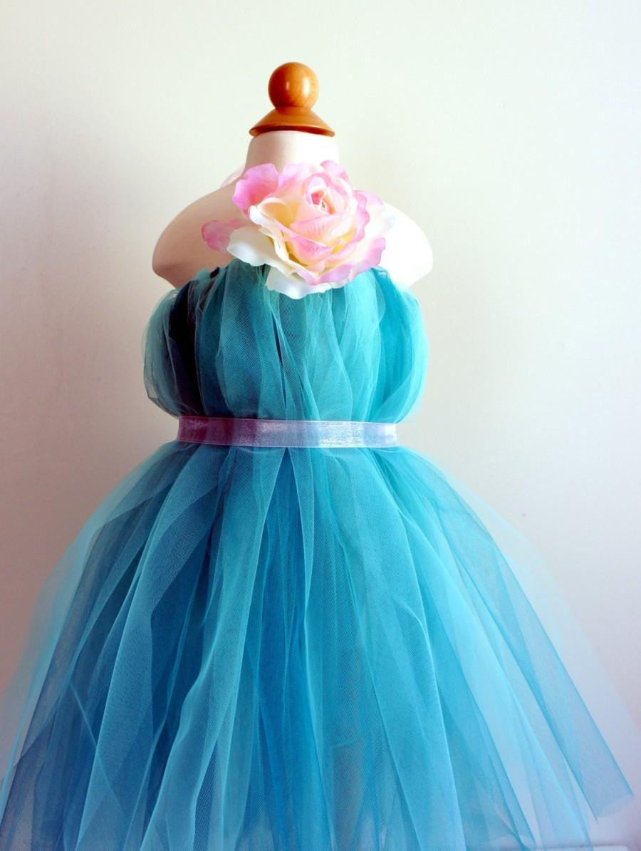 Wedding - Beautiful Flower Girl Dress,  Tutu Dress, Turquoise with Delicate Oversized Pink and Cream Flower