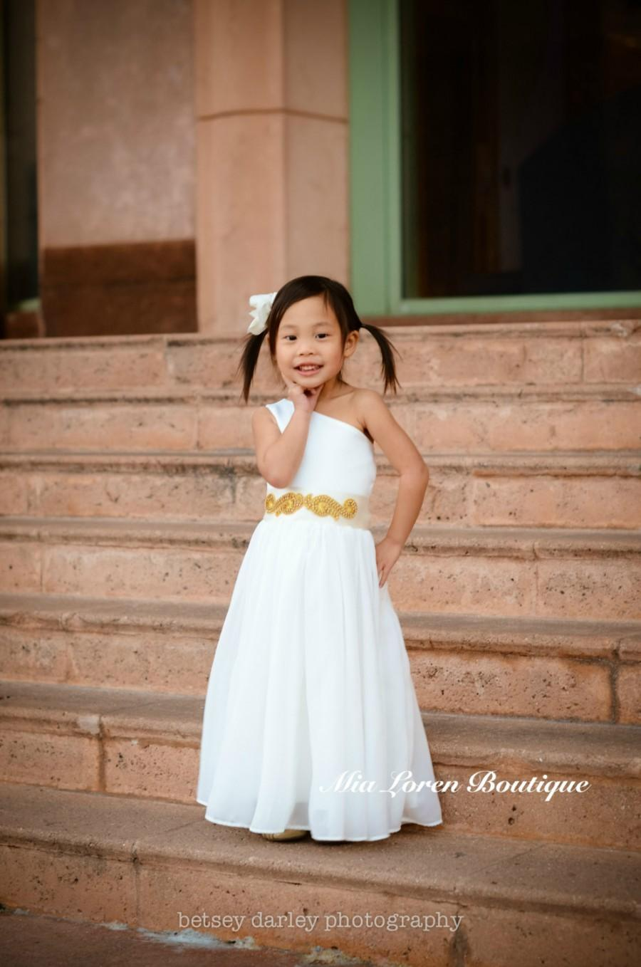 fdcdfe282b3c Bridal White Flower Girl Dress, with Gold or Silver Rhinestone Sash {The  Mia Dress Style No. 108} Made in the USA