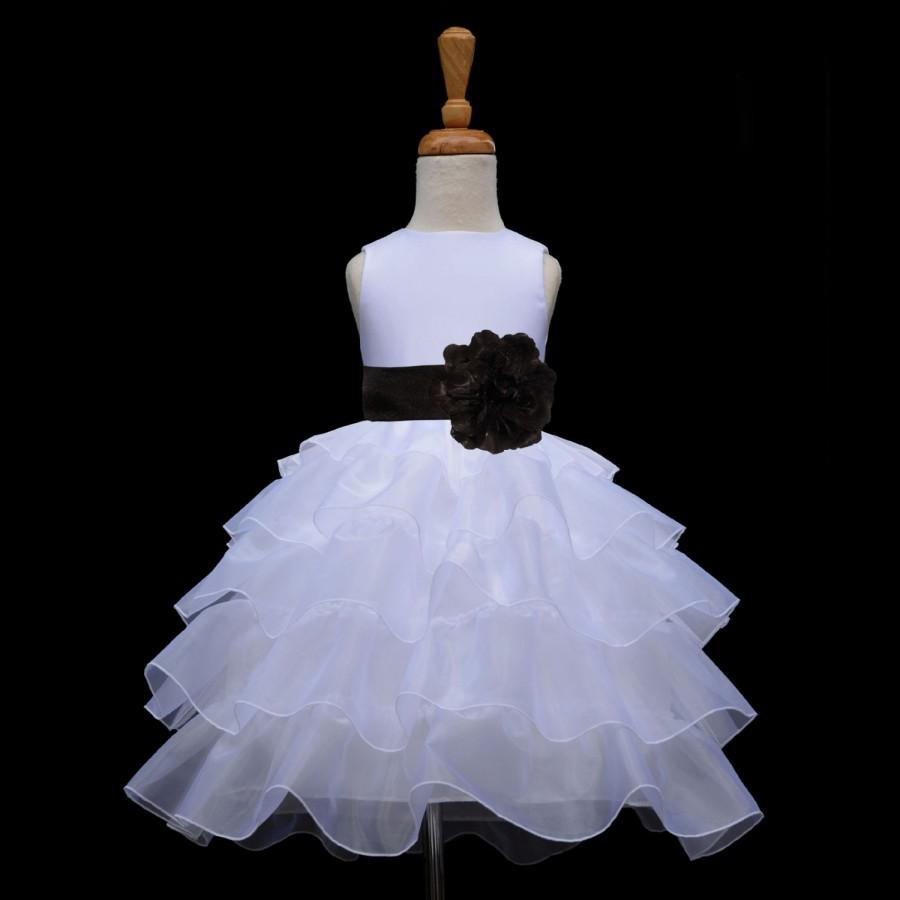 Wedding - White organza Flower Girl dress sash pageant wedding bridal children bridesmaid toddler elegant sizes 12-18m 2 2t 3t 4 5t 6 6x 8 10