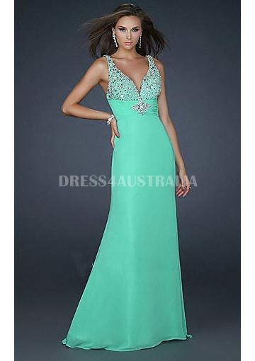 Buy australia v neck blue chiffon long homecoming dress for V neck wedding dresses australia