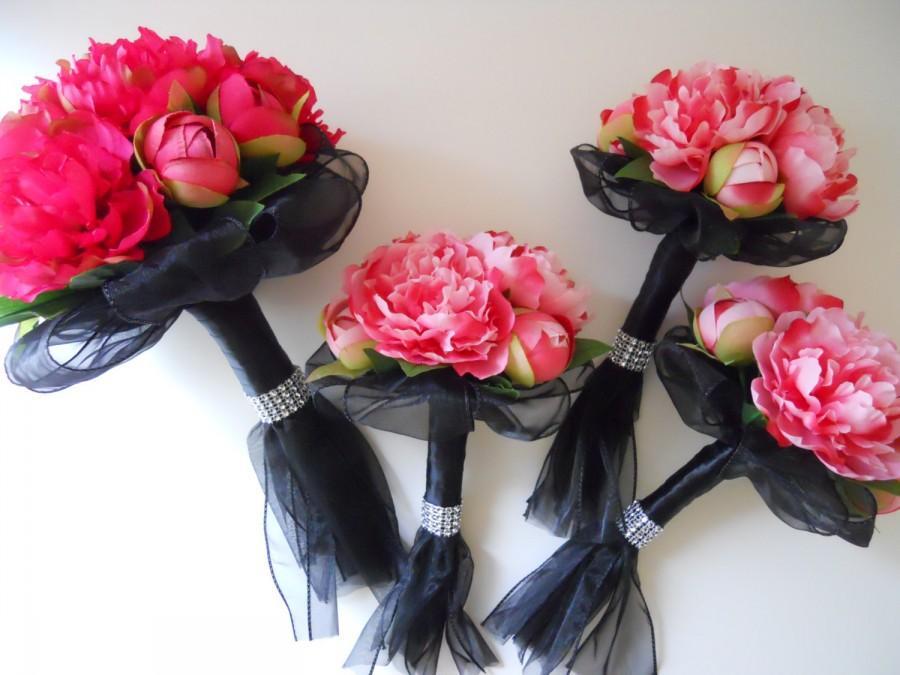 Свадьба - Hot Pink, Pink, Fuchsia and Black Bridal Bouquets Set