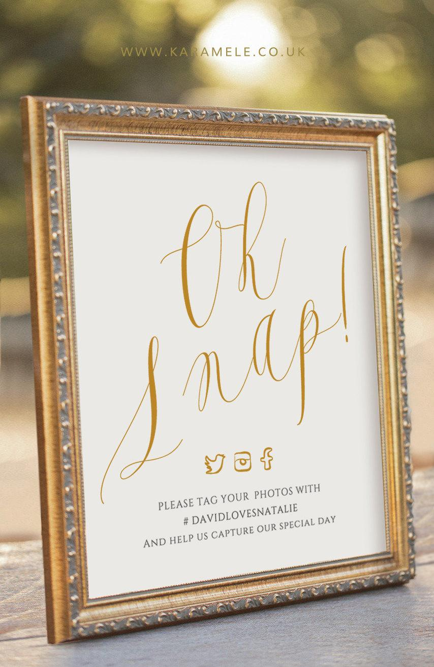 Mariage - ELEGANT Oh Snap! Printable Social media Wedding Sign - digital PDF file