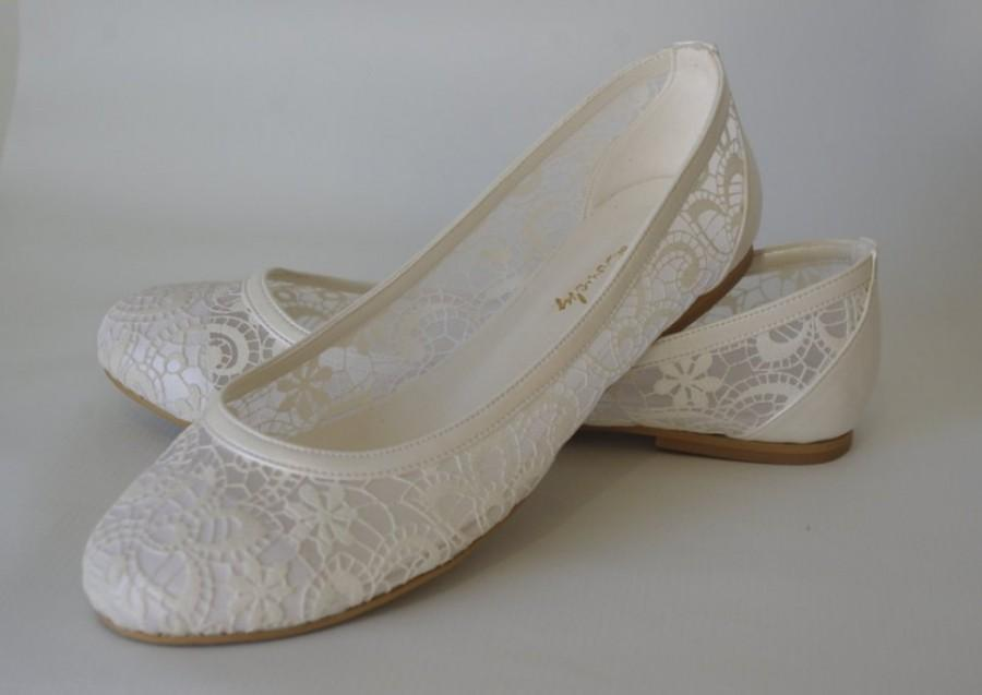 Wedding Shoes Handmade Lace Ivory Cream Flat Gift Bridal Hose 1006