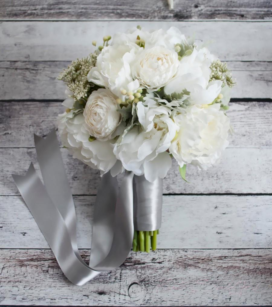 Hochzeit - Ivory Peony and Ranunculus Wedding Bouquet with Dusty Miller and Berries