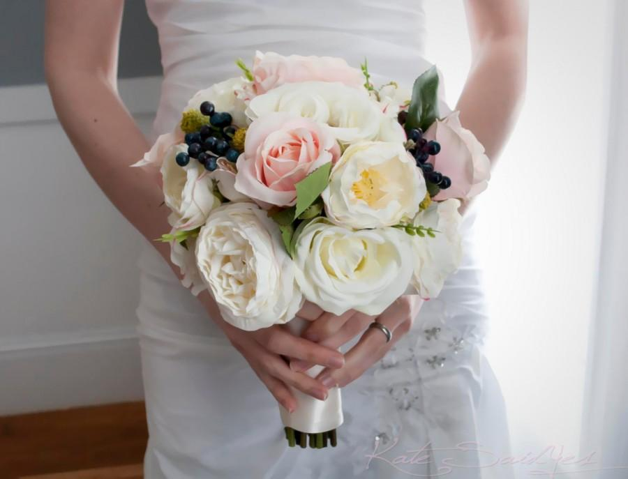 Wedding - Ivory and Blush Pink Rose Garden Wedding Bouquet