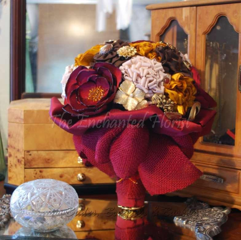 Wedding - Bridal Bouquet - Brides Bouquet & Bout- Handmade Burgundy, Tan, Brown and Gold Fabric Flowers, Brooches and Embellishments Brooch Bouquets