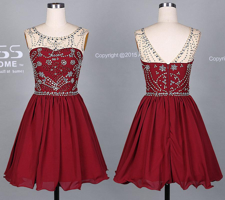 Свадьба - Burgundy Short Prom Dress/Silver Beading Homecoming Dress/Beading Knee Length Party Dress/Wedding Party Dress DH379