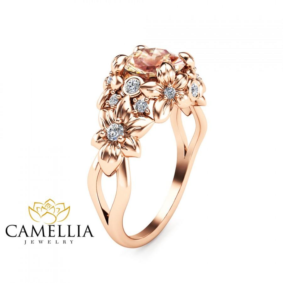 Fl Design Morganite Engagement Ring 14k Rose Gold Flower Unique Peach Pink Art Deco Styled Wedding