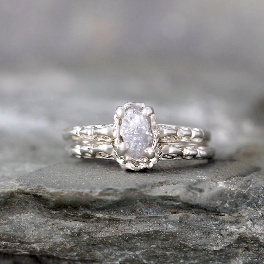 Mariage - Matching Engagement Ring and Wedding Band - Rough Diamond Rings - Raw Diamond Wedding Set - Antique Filigree Style - Wedding Rings