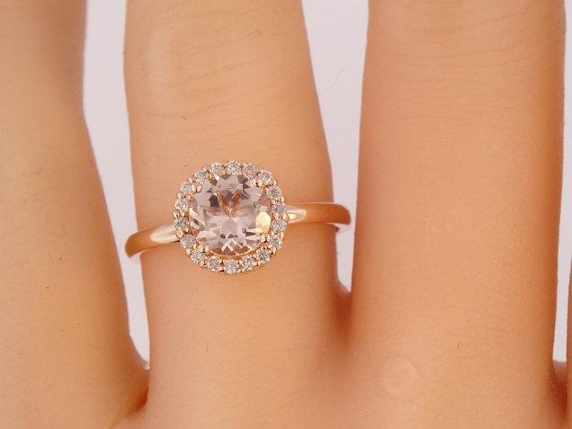 Mariage - 14K Rose Gold Natural Morganite and Diamond Halo Ring Antique Art Deco Solitare Engagement Ring Wedding Ring Promise White Gold Yellow Gold
