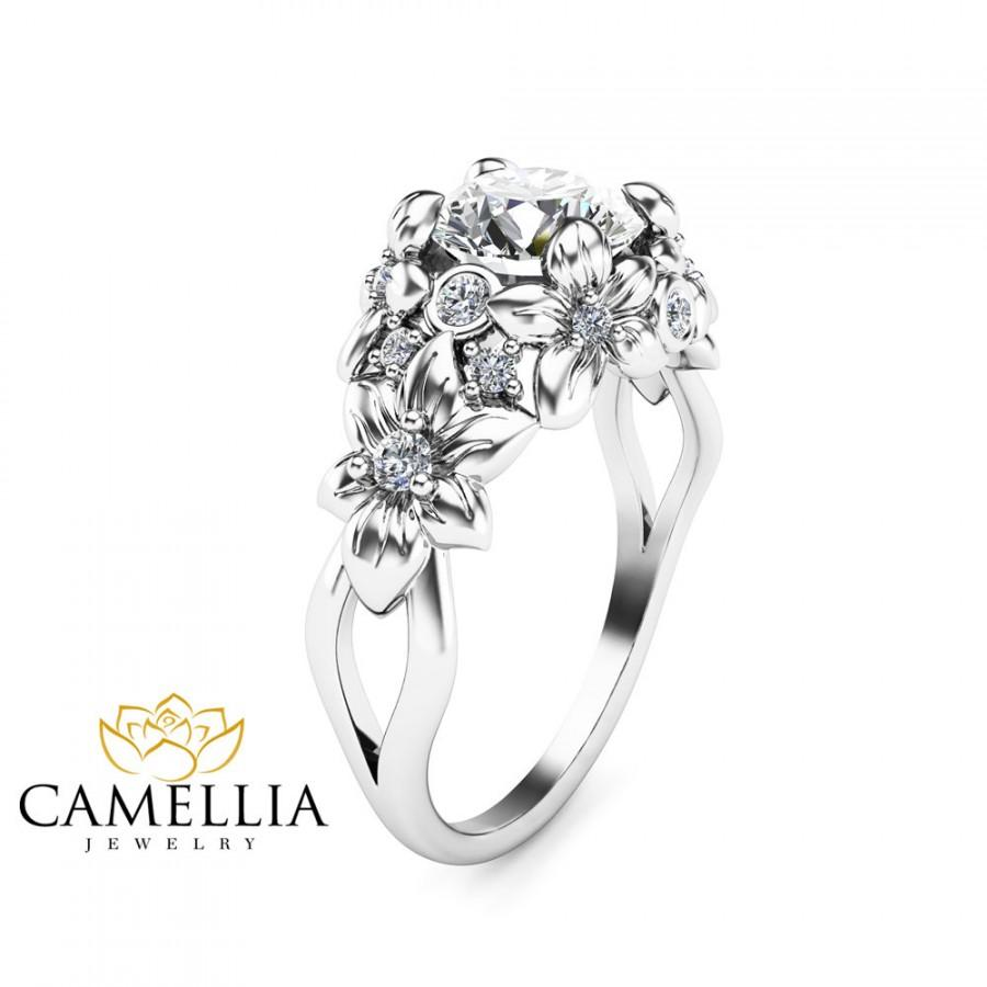 Floral Design Diamond Engagement Ring 14K White Gold Flower Ring Unique Diamo