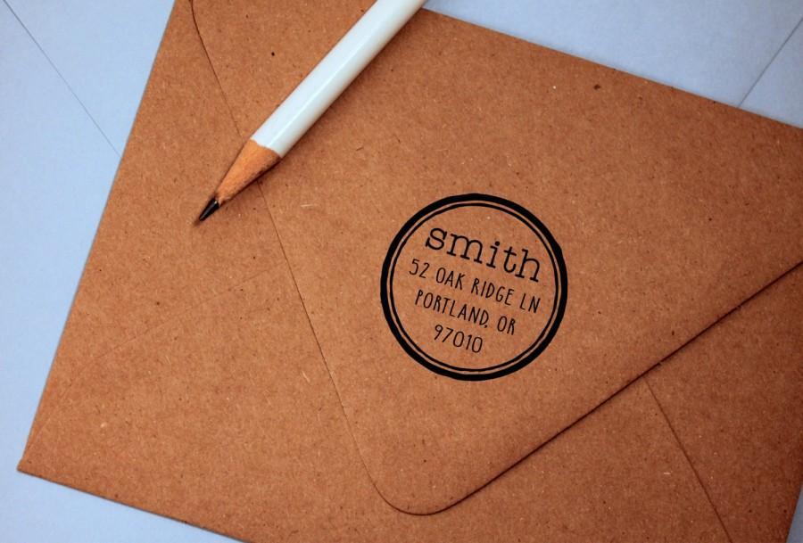 Hochzeit - Self Inking Return Address Stamp, vintage, round stamp return address stamp, rubber stamp wood handle