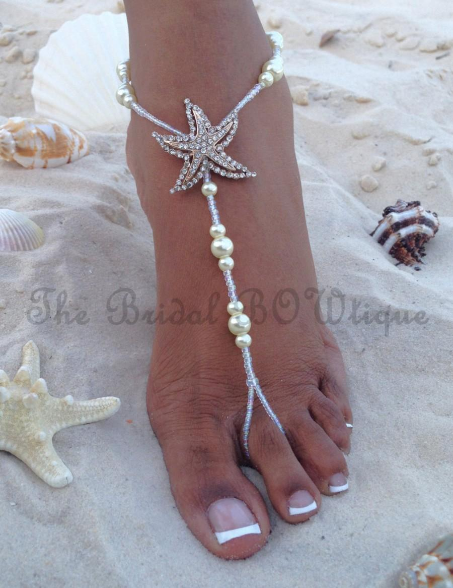 Wedding - Starfish Barefoot Sandals, Beach Wedding Barefoot Sandal, Bridal Barefoot Sandals, Bridal Foot Jewelry, Footless Sandal