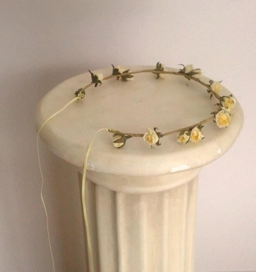 Mariage - Yellow wedding hair accessories Country Bride Headwreath -Veronica- vintage mini rose fairy Flower crown bridal wreath flower girl halo