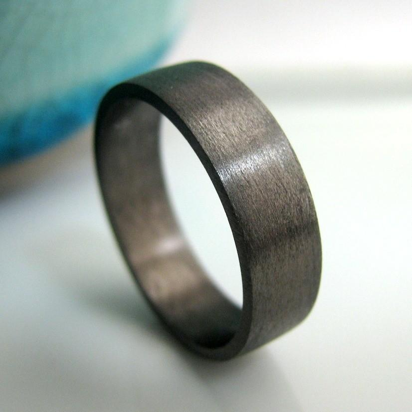 Wedding Band 5mm To 6mm Wide Black Gold Plated 925 Sterling