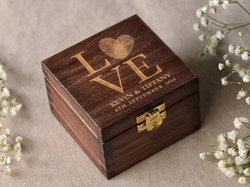 Wedding - Wood Wedding Ring Bearer Box, Fingerprint Box Rustic Wooden Ring Box, Engraved  Bride and groom names,
