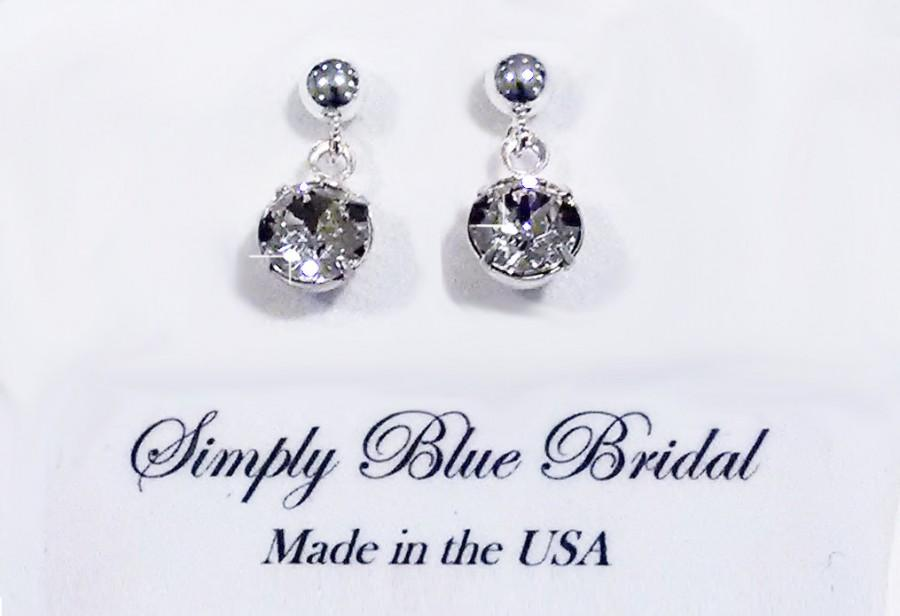 Mariage - Swarovski Earring Crystal, Crystal Earrings, Single Crystal, Silver
