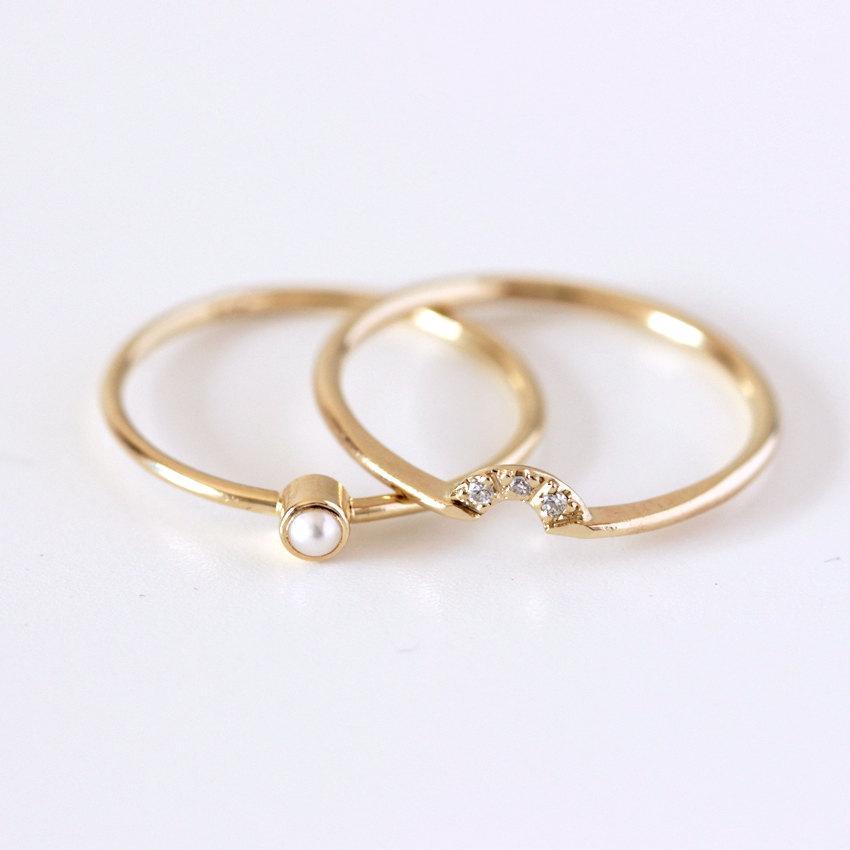 Wedding - Wedding Set - Pearl Ring & Diamond Crown Ring - 14k Gold
