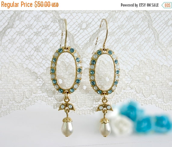 زفاف - 25% SALE Blue wedding earring, Blue wedding, Blue earrings, Wedding earrings, Blue chandelier earrings, Chandelier earrings bridal