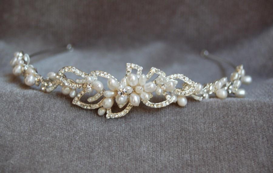 زفاف - Bridal Handmade Pearl & Crystal Headband / Swarouski Crstal And Fresh Water Pearl Wedding Headpiece / Bridal Tiara / Vintage Inspired
