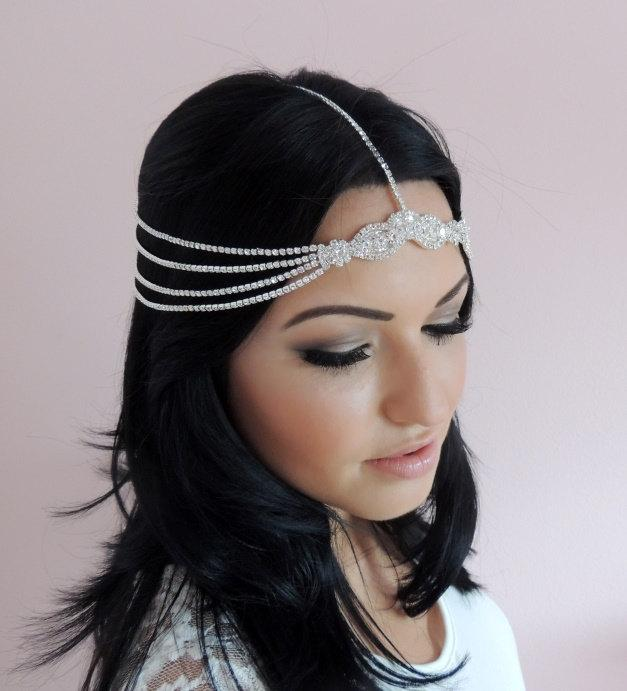 Goddess Head Jewelry Bohemian Rhinestone Headchain Headband Head
