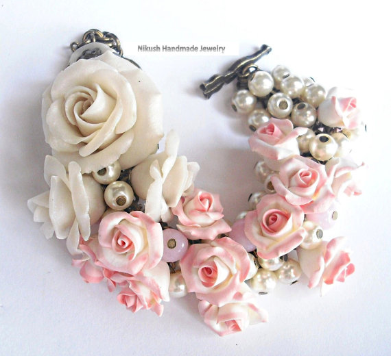 Wedding - Plastic Art. Art Jewelry. Sculpture Flowers. Weddings Bracelet. soft pink. Bridal Bracelet. handmade. shabby chic style. Roses jewelry.