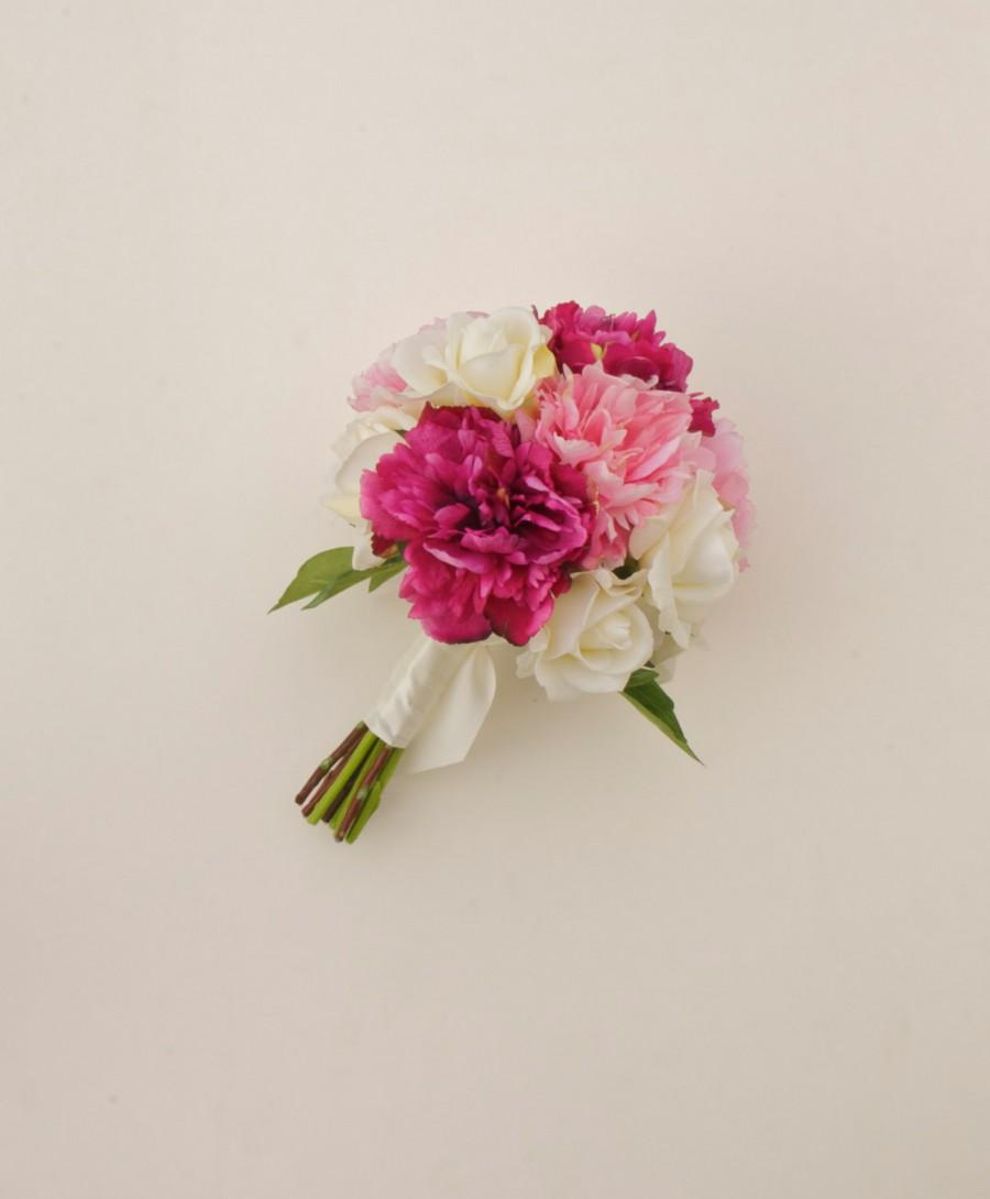 Pink Peony Bouquet Real Touch Flower Bouquet Dark Pink Peony